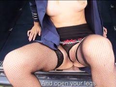Hot blonde stewardess sucking...