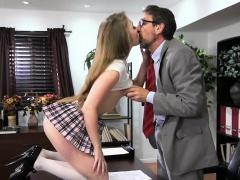 Schoolgirl uses tits to seduce...