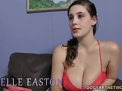 Noelle Easton tries a big cocked...