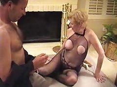 Nice granny in fishnet body...