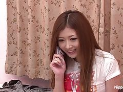 Horny Japanese teen fingers her...