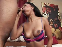 Ebony with natural tits gets...