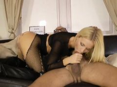 Stockings ho spurts cock