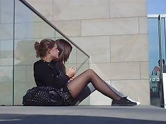 sweet teen in black pantyhose
