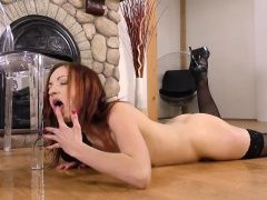 Teen Redhead Drinkings And Plays...