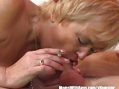 Mature Blonde Mama Sucks Young...