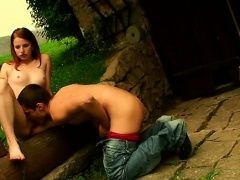 Sweet teen giving a oral-job and...