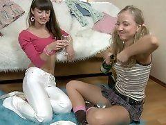 Slim sexy teen lesbians Bonny...
