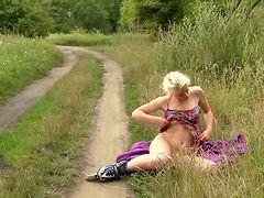 With her panties around her...