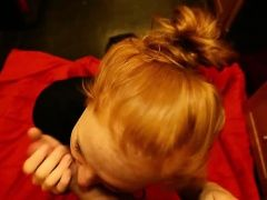 Redhead teen beauty blowing cock...