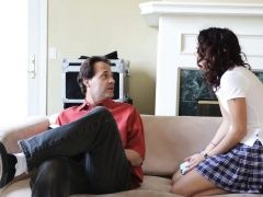 Stepdad helps teen to stretch...