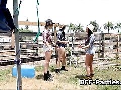 Three cowgirls sharing dick at farm