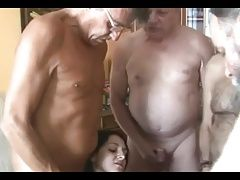Bellied old men share a shaved...