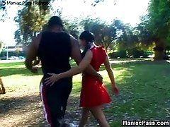 Uniform cheerleader banging